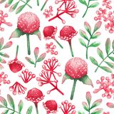 Watercolor seamless pattern of red flowers and leaves. royalty free stock photos