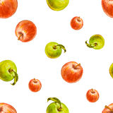 Watercolor seamless pattern with red and green apples. Stock Photo