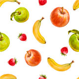 Watercolor seamless pattern with red and green apples, strawberries and bananas. Hand drawn tropical design. Vector summer fruit illustration Stock Photography