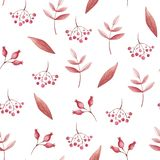 Watercolor seamless pattern of red leafs and rowan for print. Fall vibes. royalty free illustration