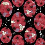 Watercolor seamless pattern with red poppies collected in the form of an Easter egg on a black background with white butterflies. Royalty Free Stock Photos