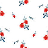 Watercolor seamless pattern with red roses, blue leaves and dragonfly on white background Stock Photos