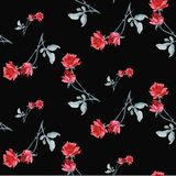 Watercolor seamless pattern with red roses and gray le aves on black background. Fine bright and elegant pattern. Watercolor seamless pattern with red roses and Royalty Free Stock Image