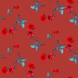 Watercolor seamless pattern with red roses and gray  leaves  on burgundy background. Watercolor seamless pattern with red roses and gray leaves  on burgundy Stock Photography