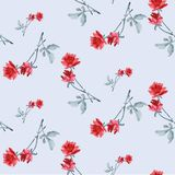 Watercolor seamless pattern with red roses and gray  leaves  on light blue background. Stock Photo