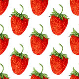 Watercolor seamless pattern with red strawberries dessert. Vector  background. Hand drawn illustration for eco product design Royalty Free Stock Photos
