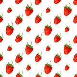 Watercolor seamless pattern with red strawberries. Vector background for print. Hand drawn Royalty Free Stock Photos