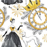 Watercolor seamless pattern in retro gold style. Beautiful woman with champagne, Greyhound dogs, jewellery clock, diadem. Fir branches. Vintage New Year stock illustration