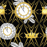 Watercolor seamless pattern in retro gold style. Jewellery diadem and clocks, fir branches, golden cake on black. Geometry. Vintage New Year illustration. Ready Royalty Free Stock Photos