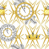 Watercolor seamless pattern in retro gold style. Jewellery diadem and clocks, fir branches, golden cake on white. Geometry. Vintage New Year illustration. Ready Stock Photo