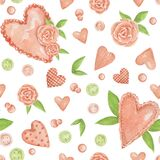 Watercolor seamless pattern with romantic hearts and delicate flowers. Drawn roses, hydrangeas, delicate and pink hearts