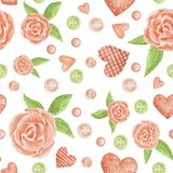 Watercolor seamless pattern with romantic hearts and delicate flowers.