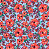 Watercolor seamless pattern with rose and leaf. Red flowers green leaves, On blue background. Floral endless artwork Stock Photo