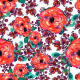 Watercolor seamless pattern with rose and leaf. Red flowers  green leaves, On white background. Floral endless artwork Stock Images