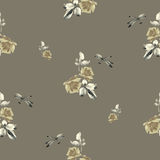 Watercolor seamless pattern with roses,leaves and dragonfly on  beige color. Fine pattern for backgrounds, textiles, wallpapers, wrapping paper, postcards and Royalty Free Stock Image