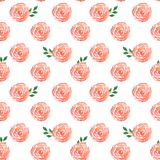 Watercolor seamless pattern with roses and leaves vector illustration