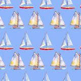 Watercolor seamless pattern with sailboats, bright hand-drawn background. Watercolor seamless pattern with sailboats, bright hand-drawn summer  background Royalty Free Stock Photo