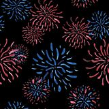 Watercolor seamless pattern of salutes - fireworks in the colors of the USA flag. royalty free illustration