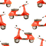 Watercolor seamless pattern with scooter Royalty Free Stock Image