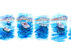 Watercolor seamless pattern with sea, boats, yachts. Summer watercolor seamless border with azure sea, boats, yachts, blue sky and white coastal city, bright Royalty Free Stock Images