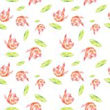Watercolor Seamless pattern with shrimps and lime . Illustration isolated on white background royalty free illustration