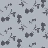 Watercolor seamless pattern with silhouettes of dark gray roses and leaves on light gray background. Chinese motifs. Stock Image