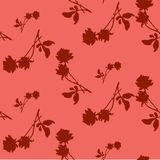 Watercolor seamless pattern with silhouettes of dark red roses and leaves on light red background. Chinese motifs. Stock Photography