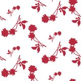 Watercolor seamless pattern with silhouettes of dark red roses and leaves on white background. Chinese motifs. Stock Photos