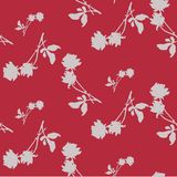 Watercolor seamless pattern with silhouettes of gray roses and leaves on dark red background. Royalty Free Stock Photos