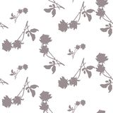 Watercolor seamless pattern with silhouettes of gray roses and leaves on white background. Chinese motifs in white- gray tones. Watercolor seamless pattern with Royalty Free Stock Images