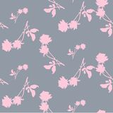 Watercolor seamless pattern with silhouettes of light pink roses and leaves on light gray background. Chinese motifs in light tone. S. Fine pattern for Stock Image