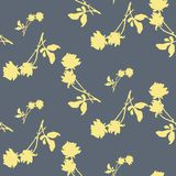 Watercolor seamless pattern with silhouettes of light yellow roses and leaves on gray background. Chinese motifs. Fine pattern for backgrounds, textiles Royalty Free Stock Photos