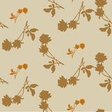 Watercolor seamless pattern with silhouettes of roses and leaves on  beige background. Chinese motifs  in ocher tones. Watercolor seamless pattern with Royalty Free Stock Images