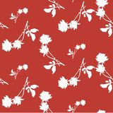 Watercolor seamless pattern with silhouettes of white roses and leaves on dark red background. Stock Photo