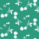 Watercolor seamless pattern with silhouettes of white roses and leaves on emerald green background. Chinese motifs. Fine pattern for backgrounds, textiles Royalty Free Stock Photos