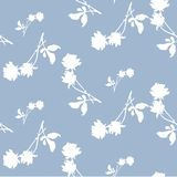 Watercolor seamless pattern with silhouettes of white roses and leaves on light blue background. Chinese motifs. Fine pattern for backgrounds, textiles Royalty Free Stock Image