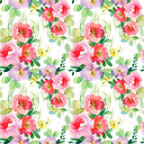 Watercolor seamless pattern with simple colorful flowers. royalty free illustration