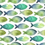 Watercolor seamless pattern of simple silhouette green and blue. Watercolor seamless pattern. simple silhouette of green and blue fish on white background Royalty Free Stock Image