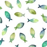 Watercolor seamless pattern of simple silhouette green and blue. Watercolor seamless pattern. simple silhouette of green and blue fish on white background Royalty Free Stock Photo