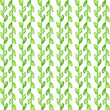 Watercolor seamless pattern. Simple spring hand drawn background. Green leafs and branches. EPS Vector Stock Photos