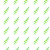 Watercolor seamless pattern. Simple spring hand drawn background. Green leafs and branches. EPS Vector Royalty Free Stock Photo