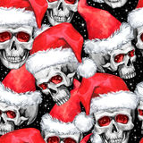 Watercolor seamless pattern with sketchy skulls in Santa hat. Cretive New Year. Celebration illustration. Can be use in Royalty Free Stock Photography