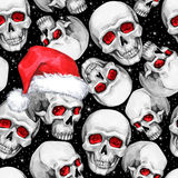 Watercolor seamless pattern with sketchy skulls in Santa hat. Cretive New Year. Celebration illustration. Can be use in. Winter holidays design, posters vector illustration