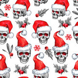Watercolor seamless pattern with sketchy skulls in Santa hat, snowfalkes, leaves. Cretive New Year. Celebration. Illustration. Can be use in winter holidays vector illustration