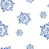 Watercolor seamless pattern with snowflake Royalty Free Stock Photo