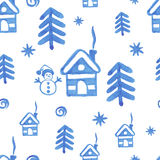 Watercolor seamless pattern with snowman Stock Images
