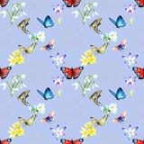 Watercolor seamless pattern - spring flowers, first, butterfly