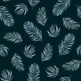 Watercolor pattern of spruce branches. Watercolor seamless pattern with spruce branches on a dark background Royalty Free Stock Images