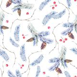 Watercolor seamless pattern with spruce branches vector illustration