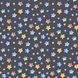 Watercolor seamless pattern with stars, rocket, month. stock illustration